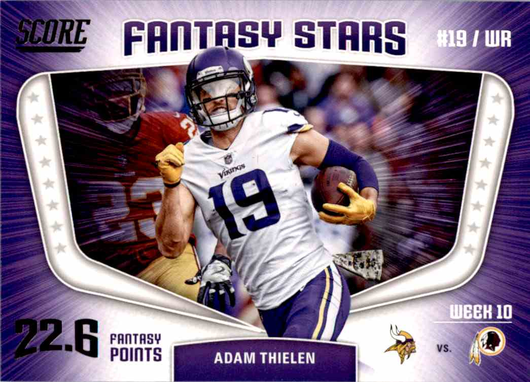 2018 Panini Score Famtasu Stars Adam Thielen #10 card front image