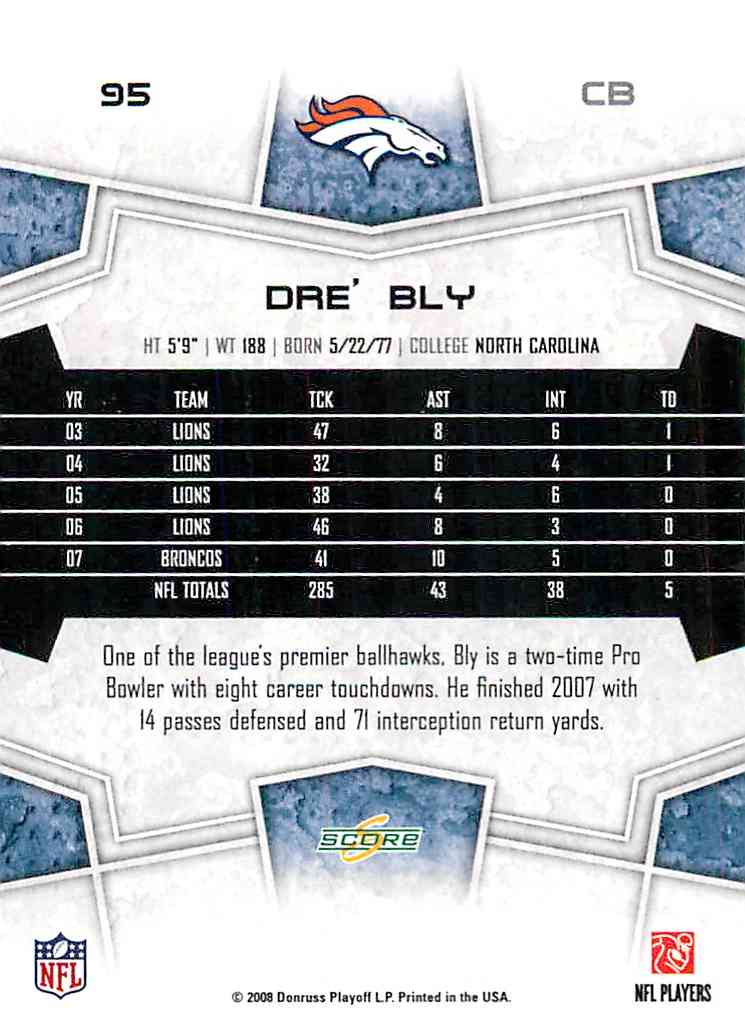 2008 Score Dre' Bly #95 card back image