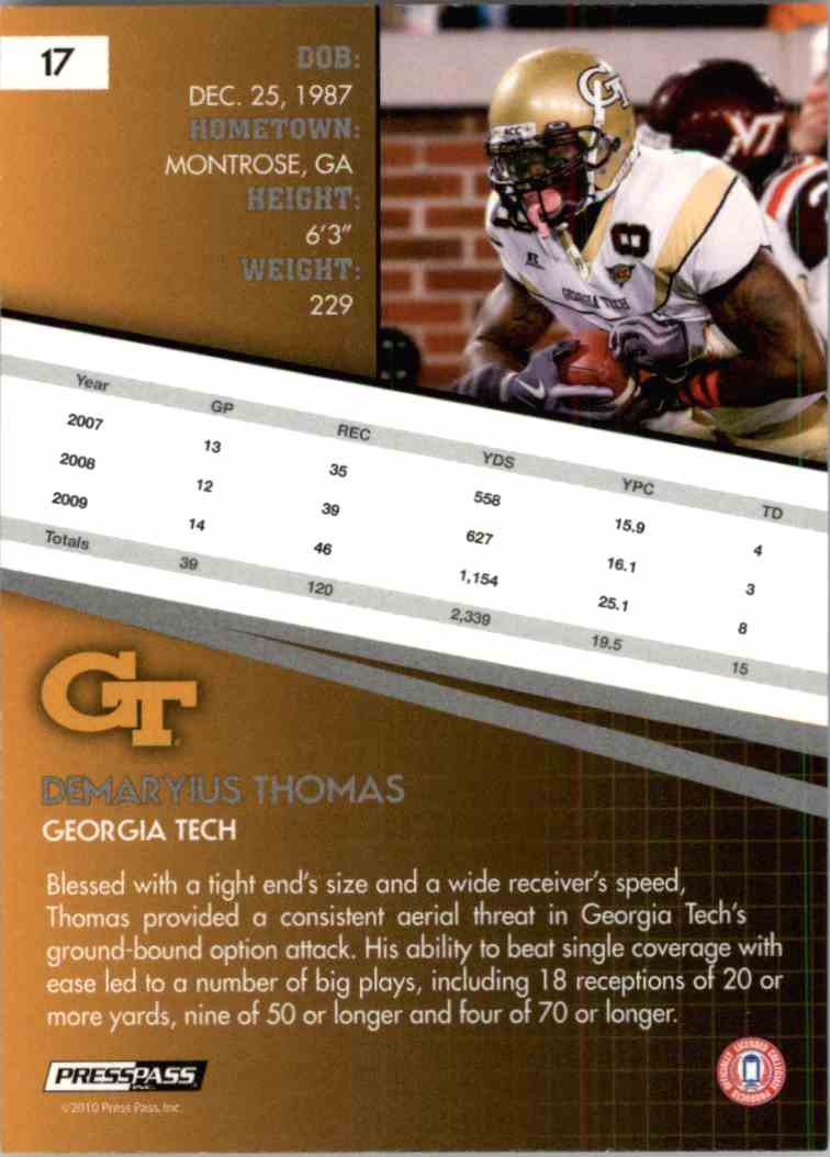2010 Press Pass Demaryius Thomas #17 card back image