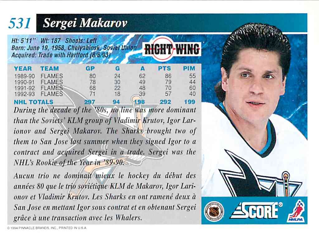 1993-94 Score Sergei Makarov #531 card back image
