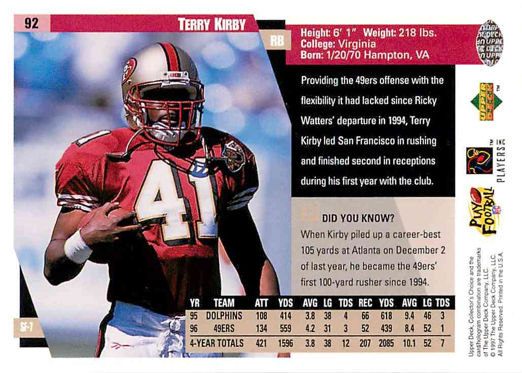 1997 Collector's Choice Terry Kirby #92 card back image