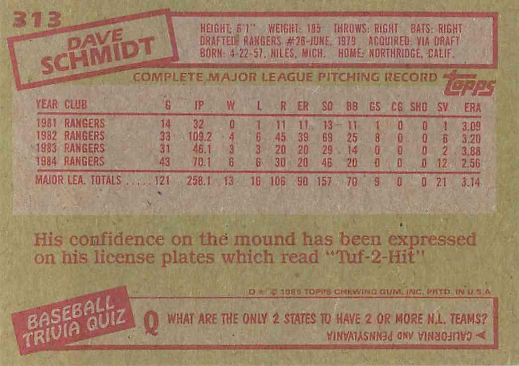 1985 Topps Dave Schmidt #313 card back image
