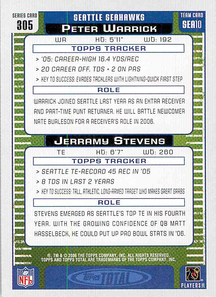 2006 Topps Total Peter Warrick, Jerramy Stevens #305 card back image