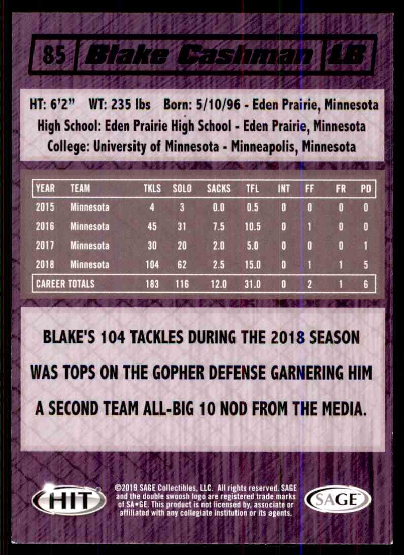 2019 Sage Hit Blake Cashman #85 card back image