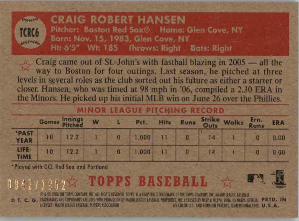 2006 Topps 52 Craig Hansen #TCRC6 card back image