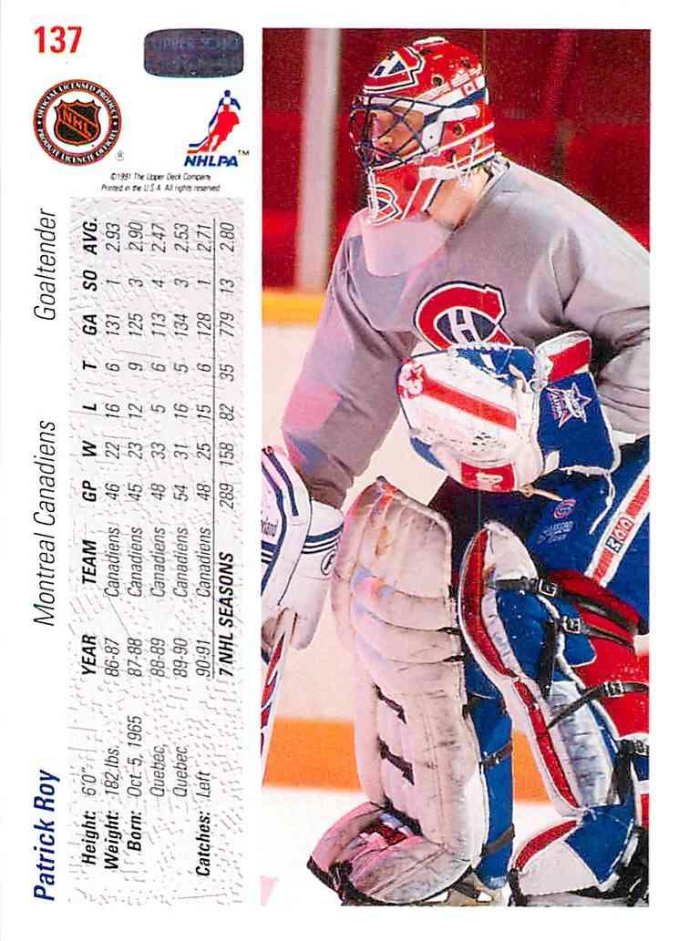 1991-92 Upper Deck Patrick Roy #137 card back image