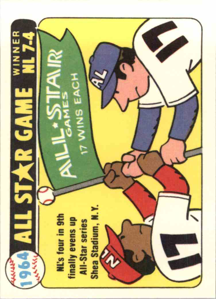 1981 Laughlin/Fleer 1964 All-Star Stickers - Nl Evens All-Star Series Wins - card front image