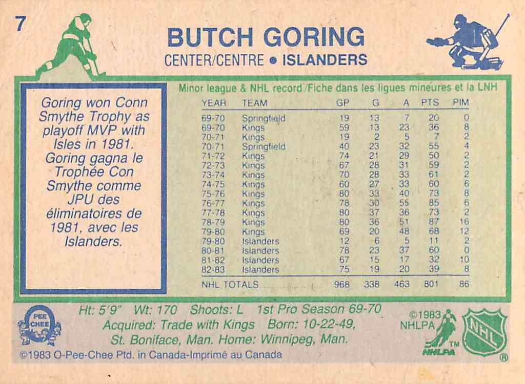 1984-85 O-Pee-Chee Butch Goring #7 card back image