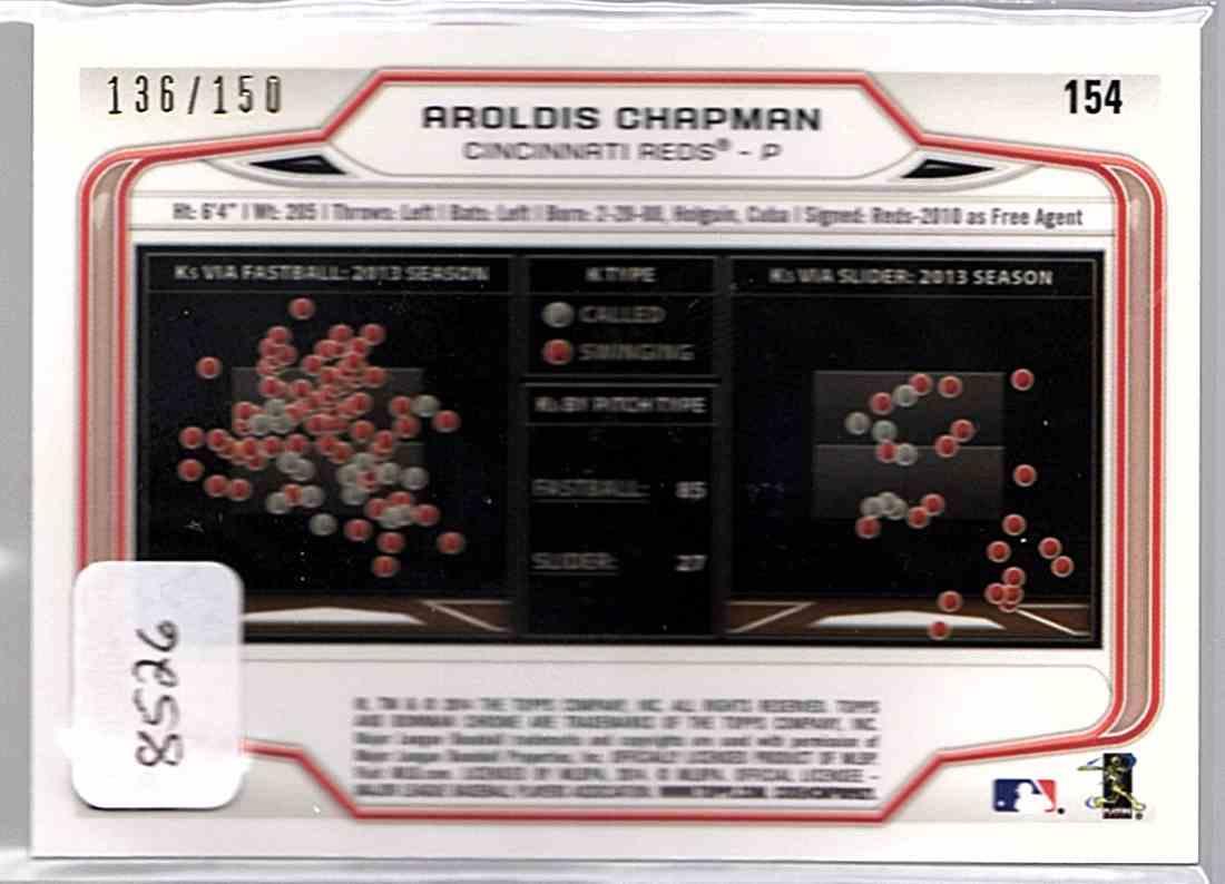 2014 Bowman Chrome Purple Refractors Aroldis Chapman #154 card back image