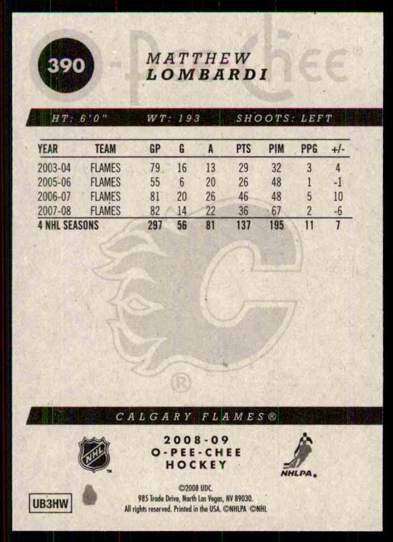 2008-09 O-Pee-Chee Matthew Lombardi #390 card back image