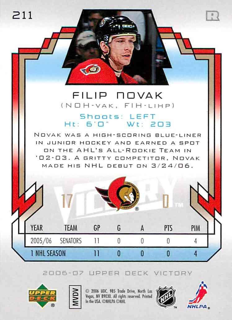 2006-07 Upper Deck Victory Filip Novak #211 card back image