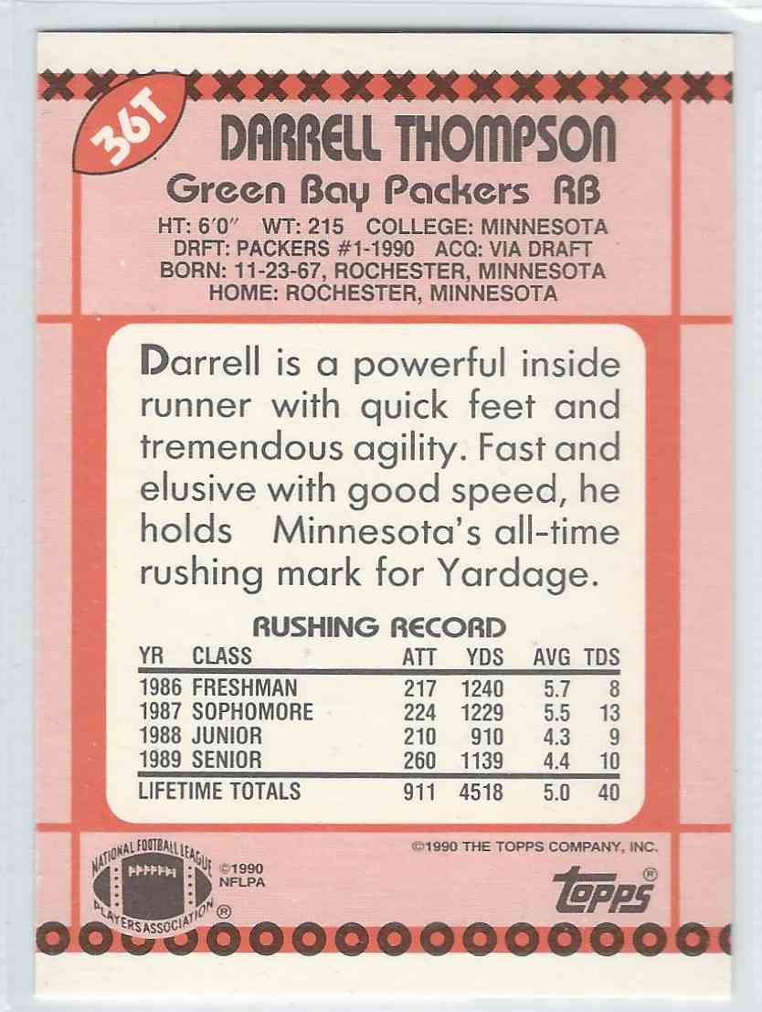 1990 Topps Traded Darrell Thompson #36T card back image