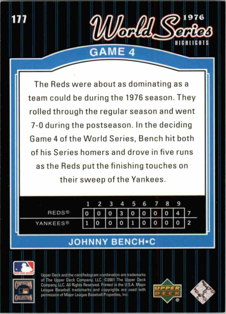 2001 Upper Deck Johnny Bench #177 card back image