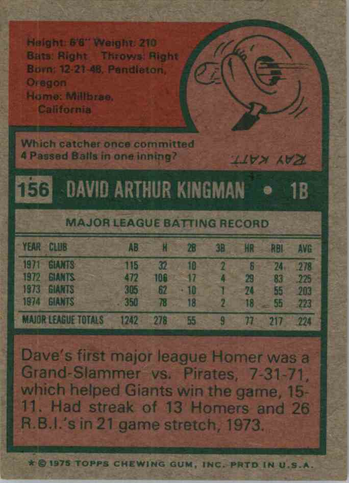 1975 Topps Mini Dave Kingman #156 card back image