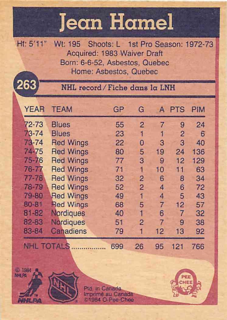 1984-85 O-Pee-Chee Jean Hamel #263 card back image