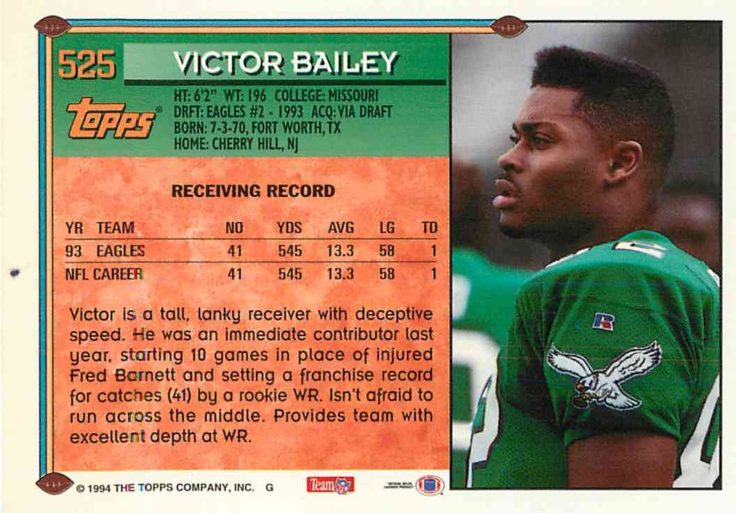 1994 Topps Victor Bailey #525 card back image
