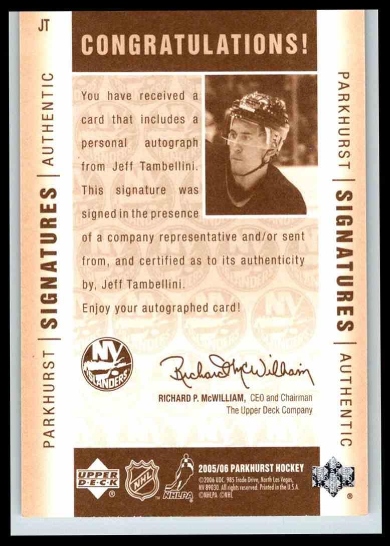 2005-06 Parkhurst Signatures Jeff Tambellini #JT card back image