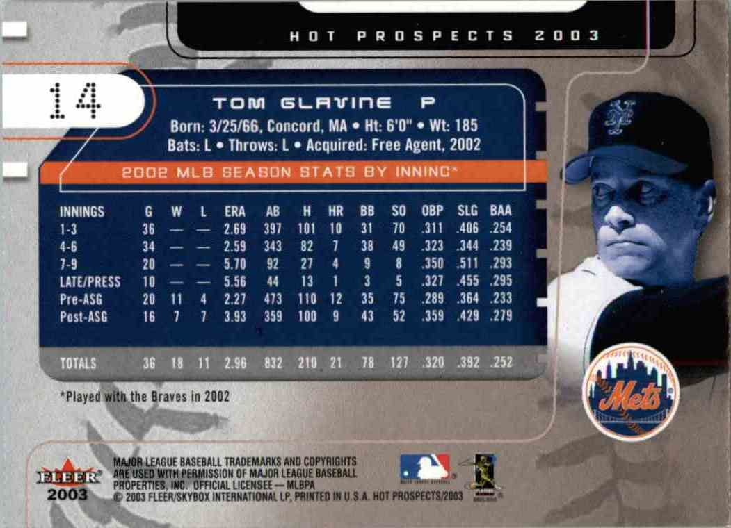 2003 Fleer Hot Prospects Tom Glavine #14 card back image