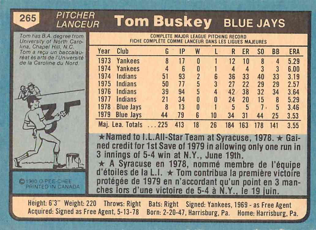 1980 O-Pee-Chee Tom Buskey #265 card back image
