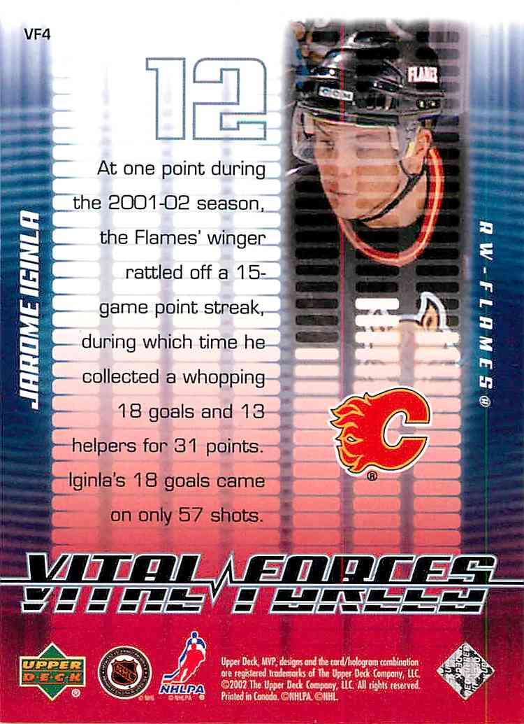 2002-03 Upper Deck Mvp Jarome Iginla #VF4 card back image