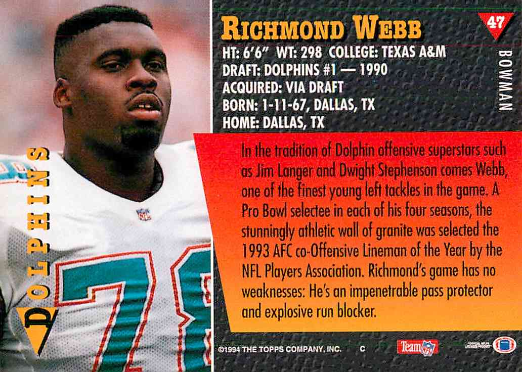 1994 Bowman Richmond Webb #47 card back image