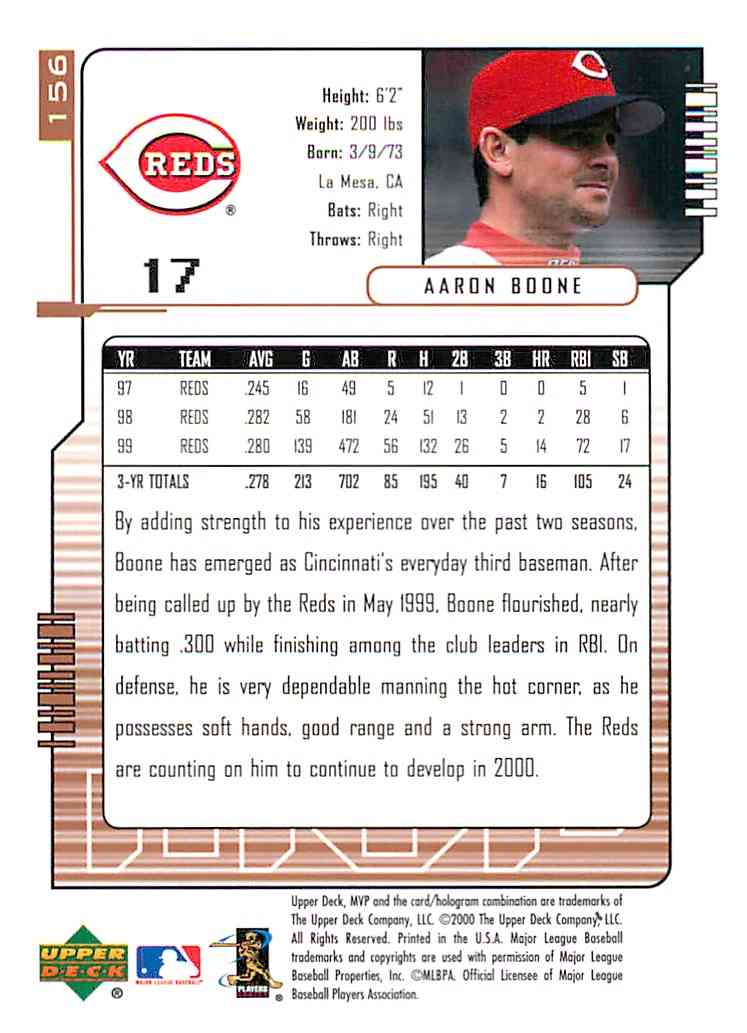2000 Upper Deck Mvp Aaron Boone #156 card back image