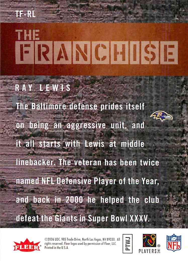 2006 Fleer The Franchise Ray Lewis #TFRL card back image