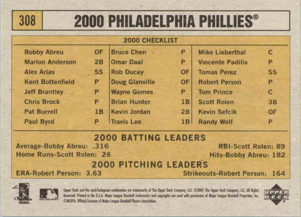 2001 Upper Deck Vintage Philadelphia Phillies #308 card back image