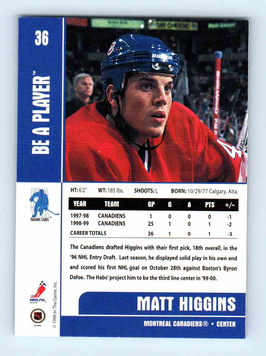 1999-00 Be A Player Matt Higgins #36 card back image