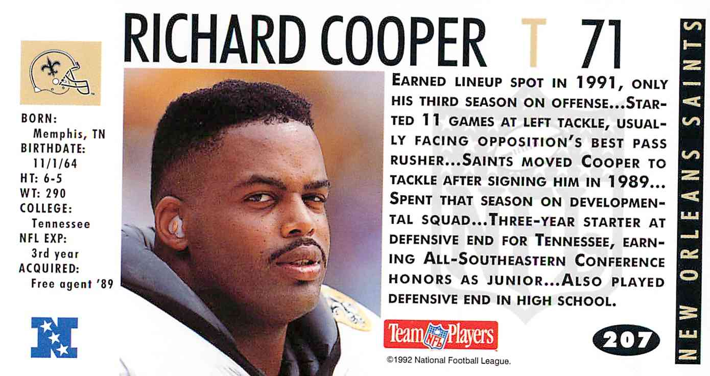 1992 Game Day Richard Cooper #207 card back image