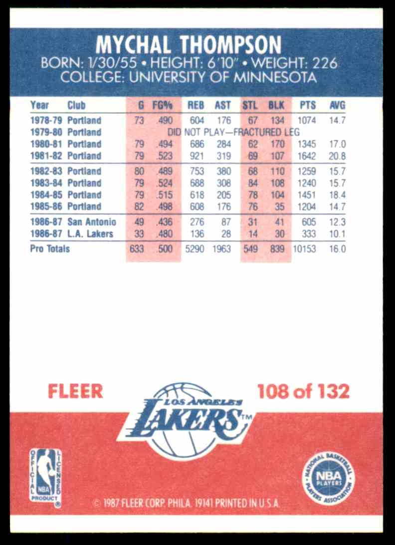1987-88 Fleer Basketball Mychal Thompson #108 card back image