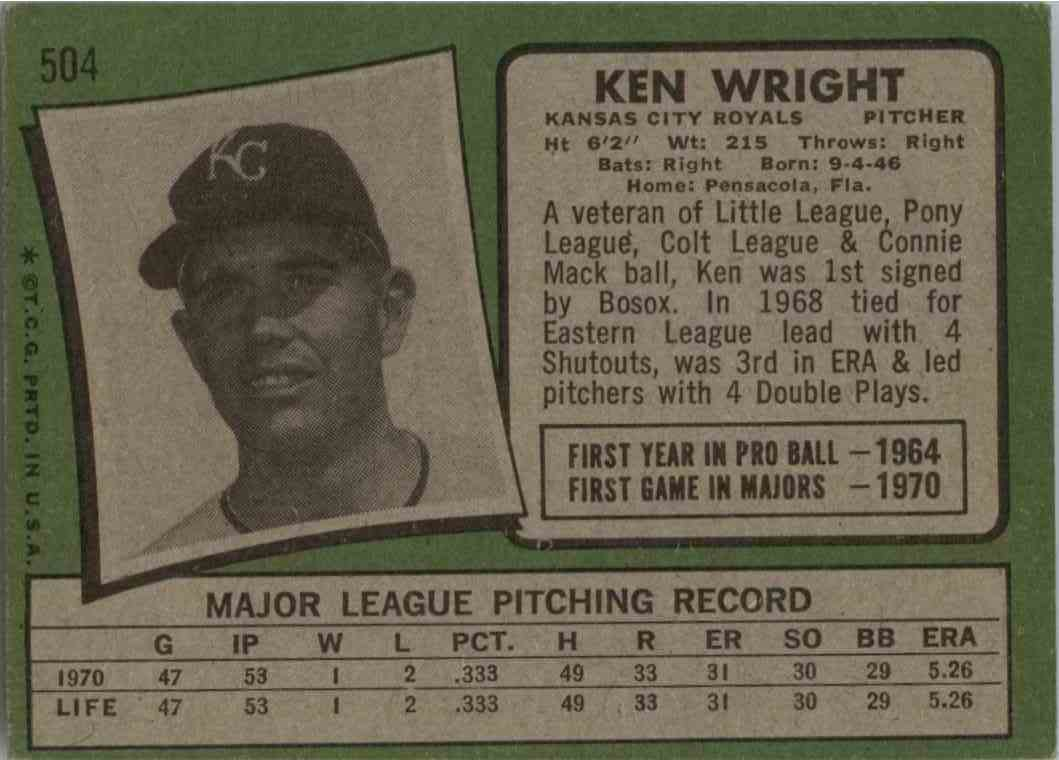 1971 Topps Ken Wright #504 card back image