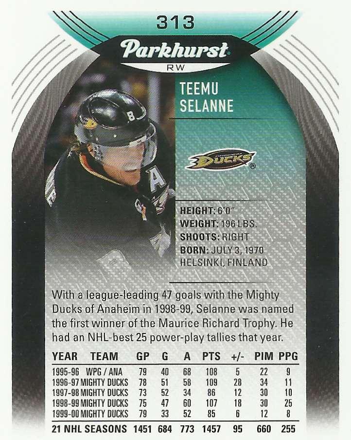 2020-21 Parkhurst Teemu Selanne #313 card back image