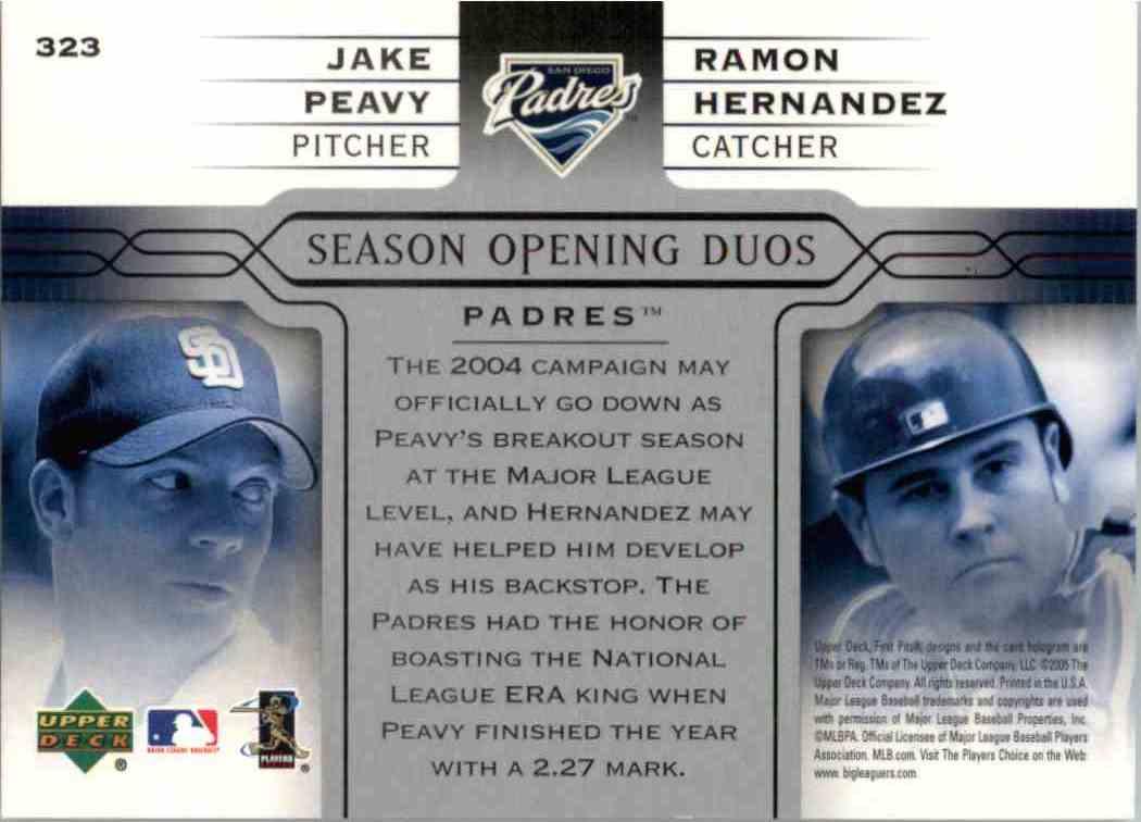 2005 Upper Deck Jake Peavy, Ramon Hernandez #323 card back image