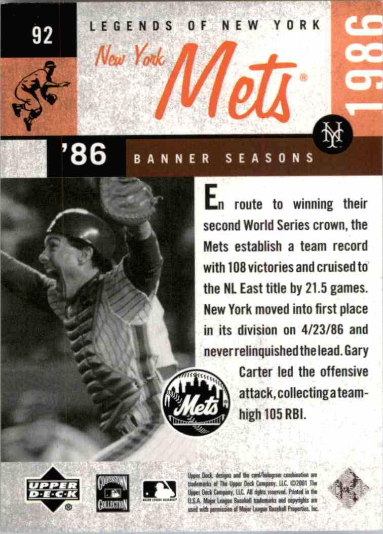 2001 Upper Deck Legends Of Gary Carter #92 card back image
