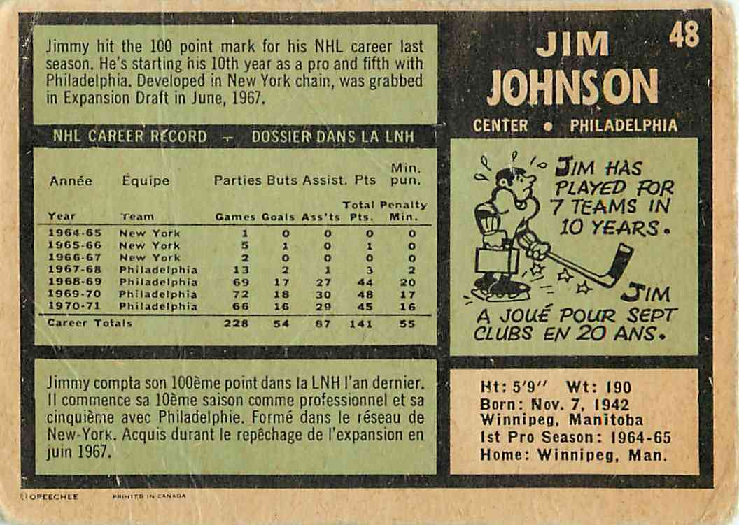1971-72 O-Pee-Chee Jim Johnson #48 card back image