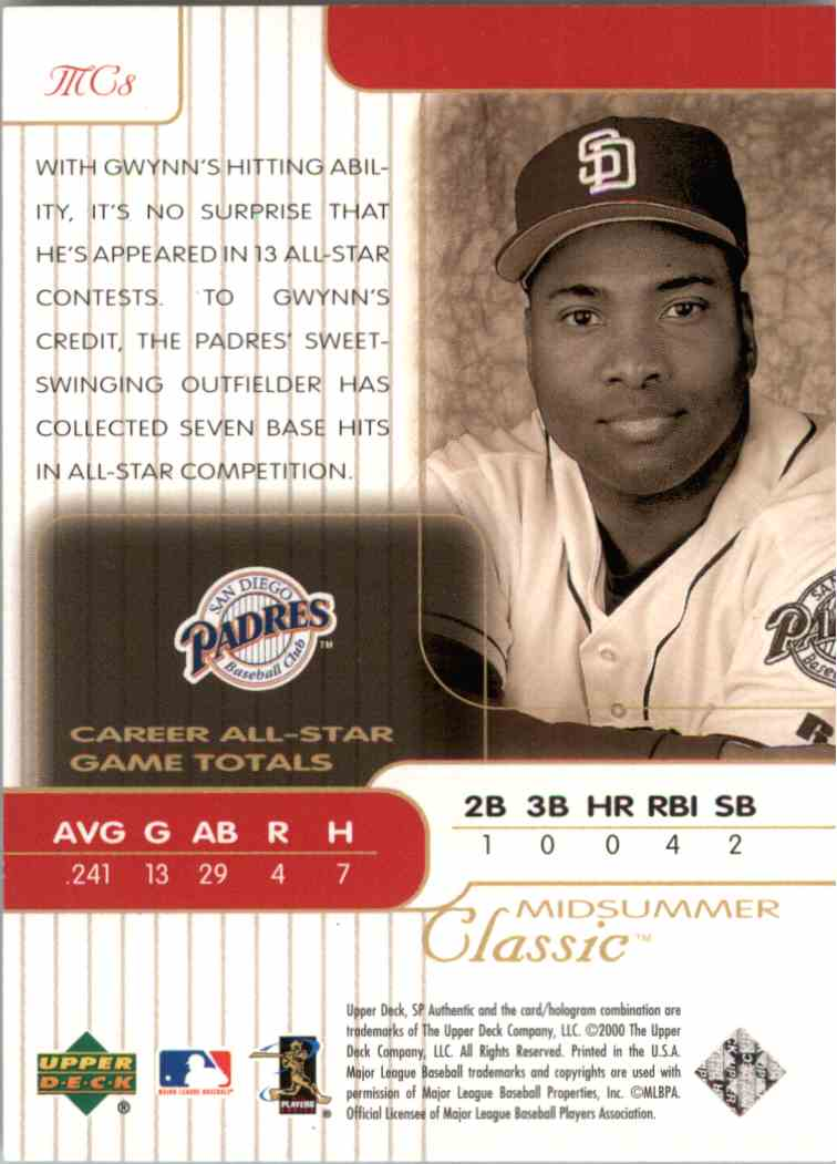 2000 SP Authentic Tony Gwynn #MC8 card back image