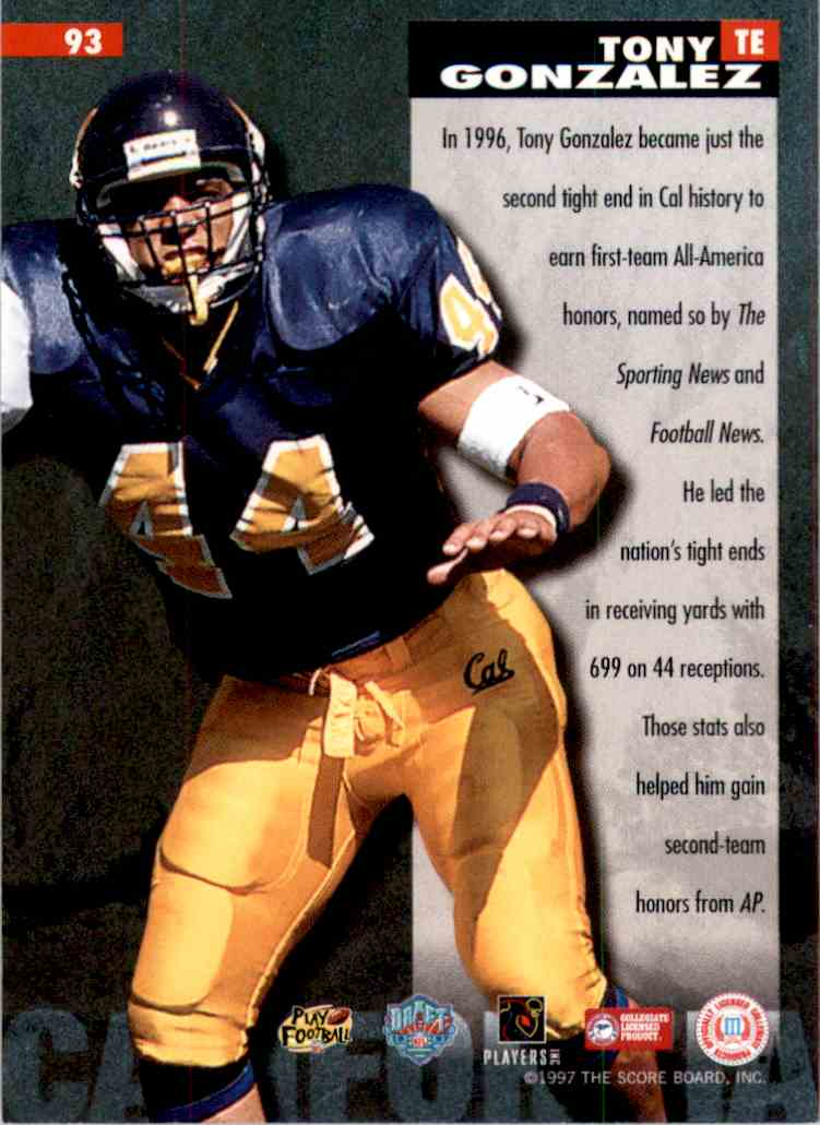1997 Score Board NFL Rookies Tony Gonzalez AA #93 card back image