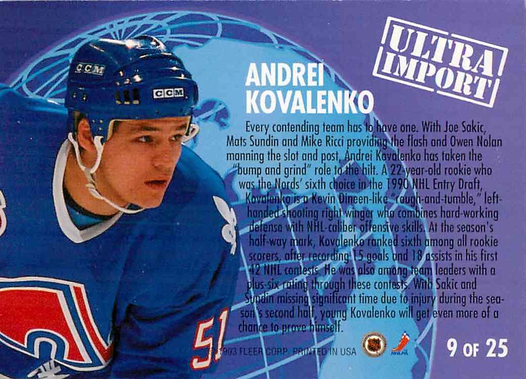 1991-92 Fleer Ultra Andrei Kovalenko #25 card back image